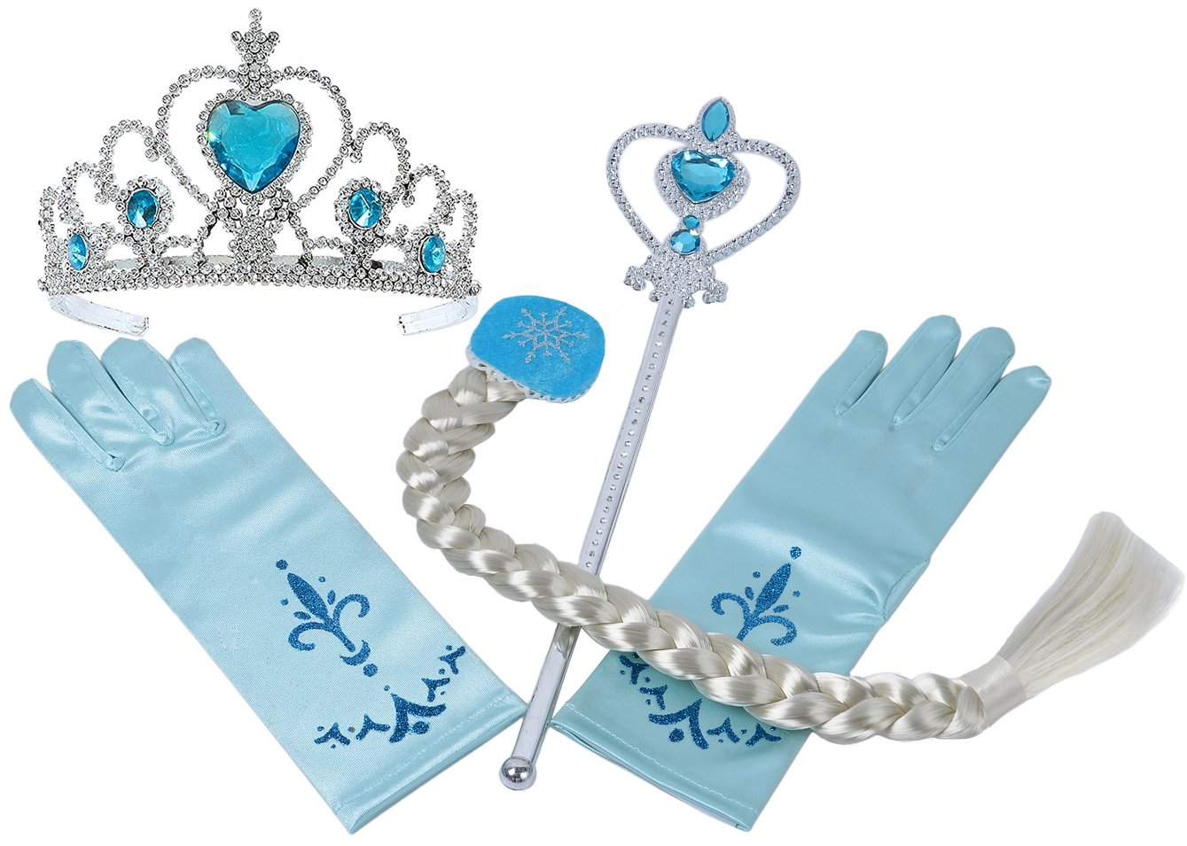 Onshine Princess Dress up Accessories - 4 Pieces Gift Set Tiara Crown Wig Wand Gloves Blue