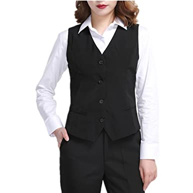 Women Waistcoat Formal Work Dress Suit Vest Sleeveless Cafe Bar Shop
