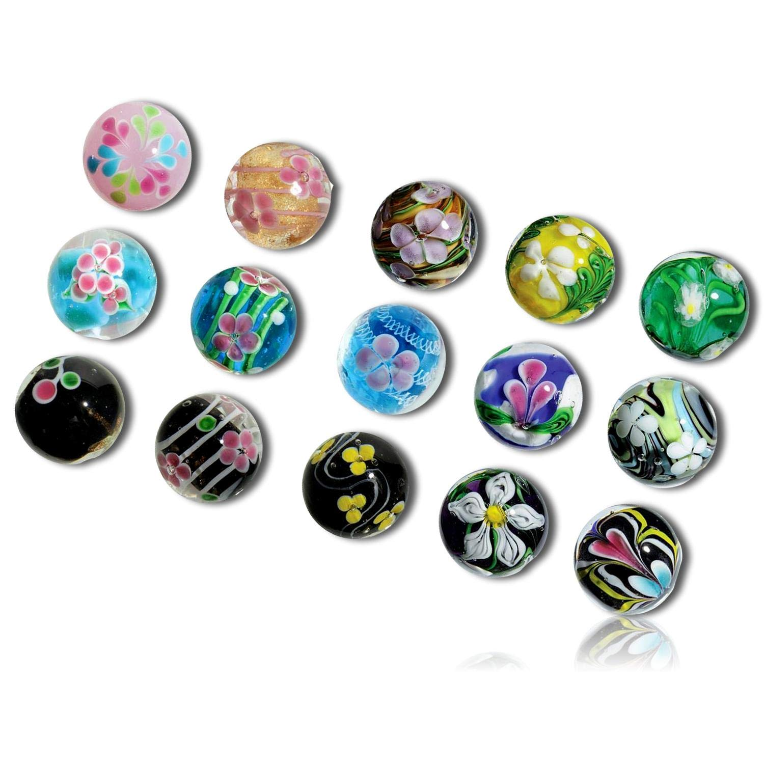 """Custom & Decorative {5/8'' Inch} 15 Mid-Size """"Round"""" Glass Marbles w/Beautifully Designed Handmade Transparent Variety Collectible Art Artistic Swirls Glitter Style [Multicolor] w/Stand + Certificate"""