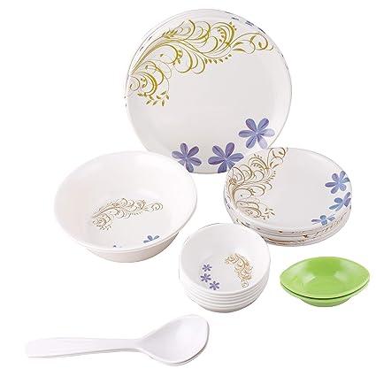 Golden Fish Unbreakable Plastic & Microwave Safe Dinner Set (24 Pcs.) (GF-16-Multi)