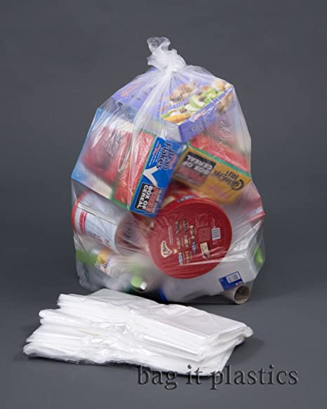 200 resistente claro bolsas de reciclaje Bag it plastics ...