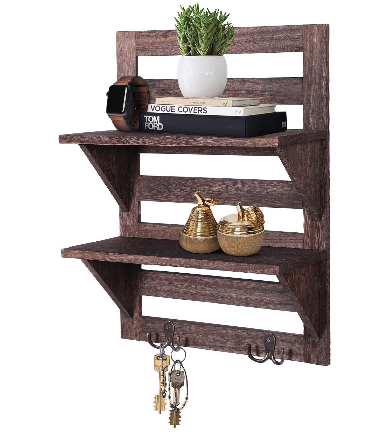 Rustic Wall Mounted Shelves - Kitchen or Bathroom Farmhouse Rustic Décor - Vintage Wall Shelves with Two Double Iron Hooks & 2-Tier Storage Rack - Decorative Wall Shelf Organizer- Torched Brown