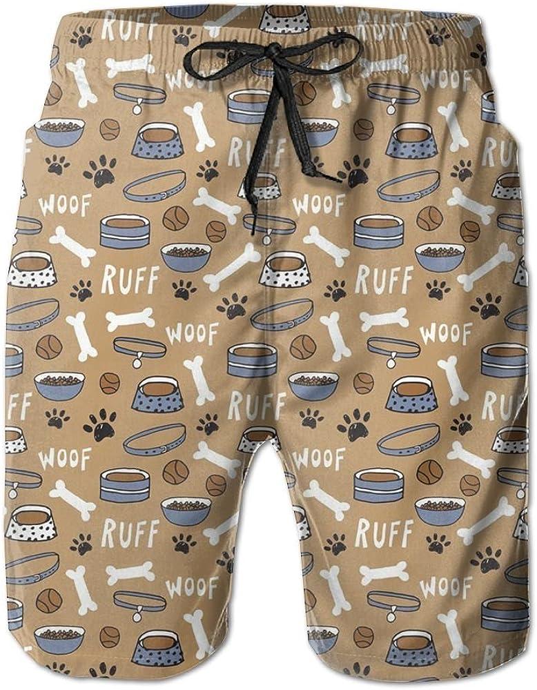 Cute Dog Bone Bowl Woof Paw Print Mens Printing Quick Dry Beach Board Shorts Swim Trunks