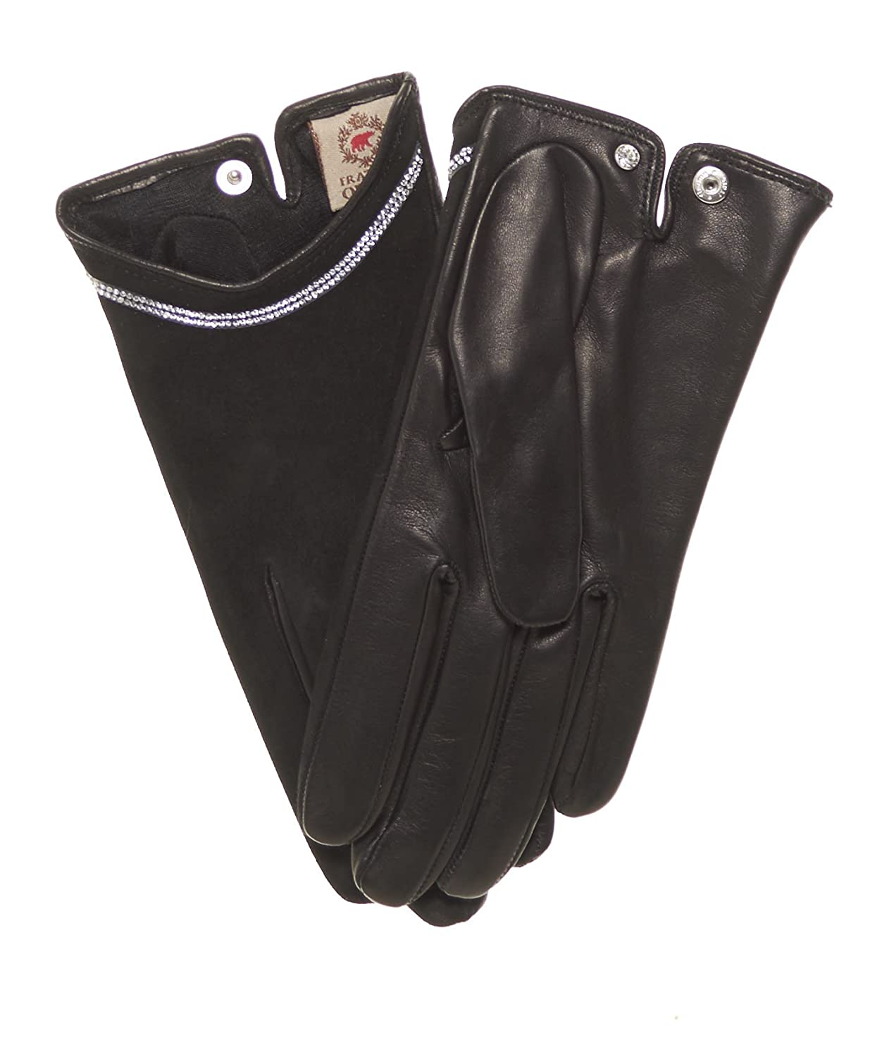 54681cd80 Fratelli Orsini Women's Sueded Lambskin Silk Lined Leather Gloves with  Swarovski Crystal Trim at Amazon Women's Clothing store: