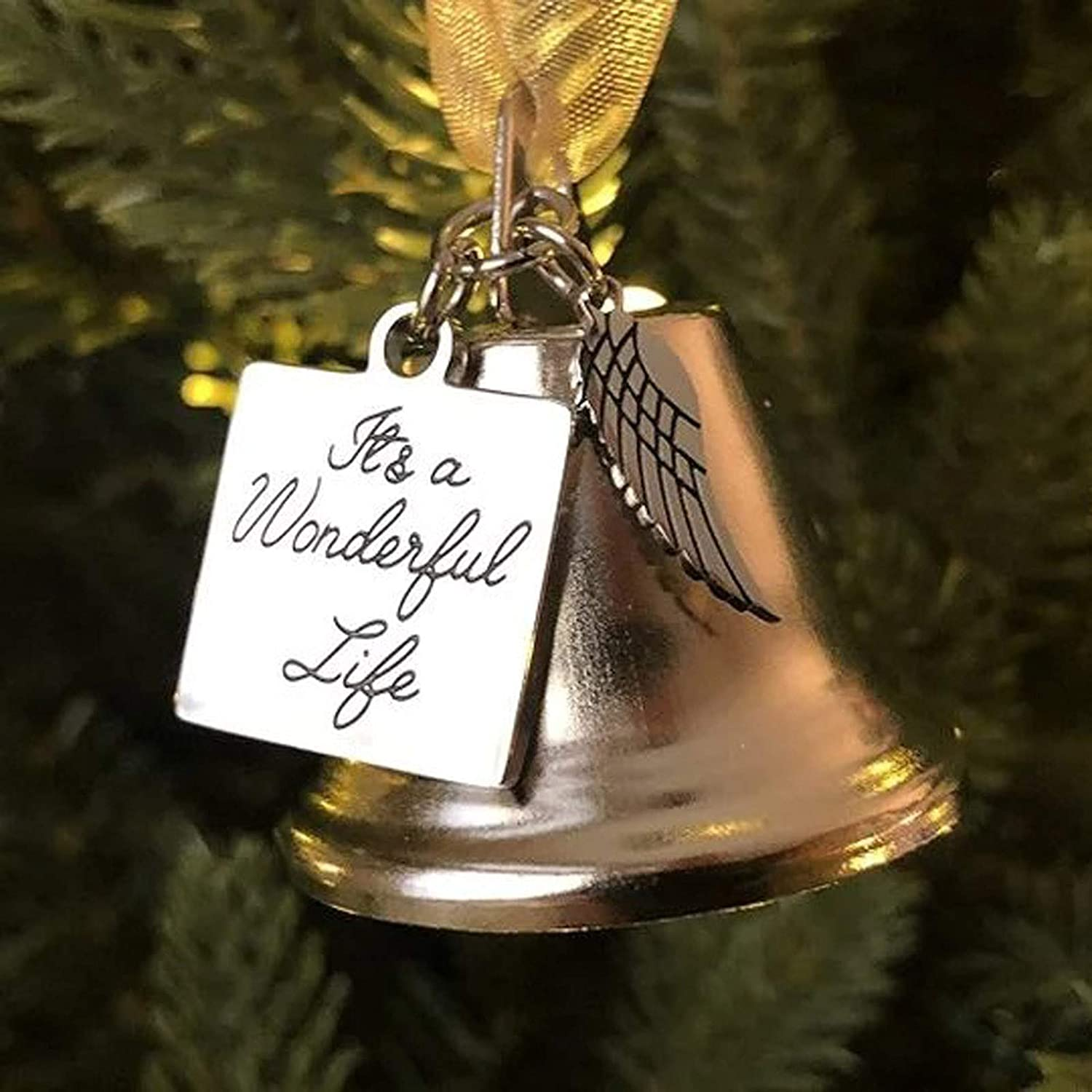 Fuggui Christmas Angel Wings Pendant Iron Bell Ornament It's a Wonderful Life Stainless Steel Tag Christmas Tree Hanging Ornaments Pendants Decorations Home Decor Gifts 5x5 cm (A, 2PC)