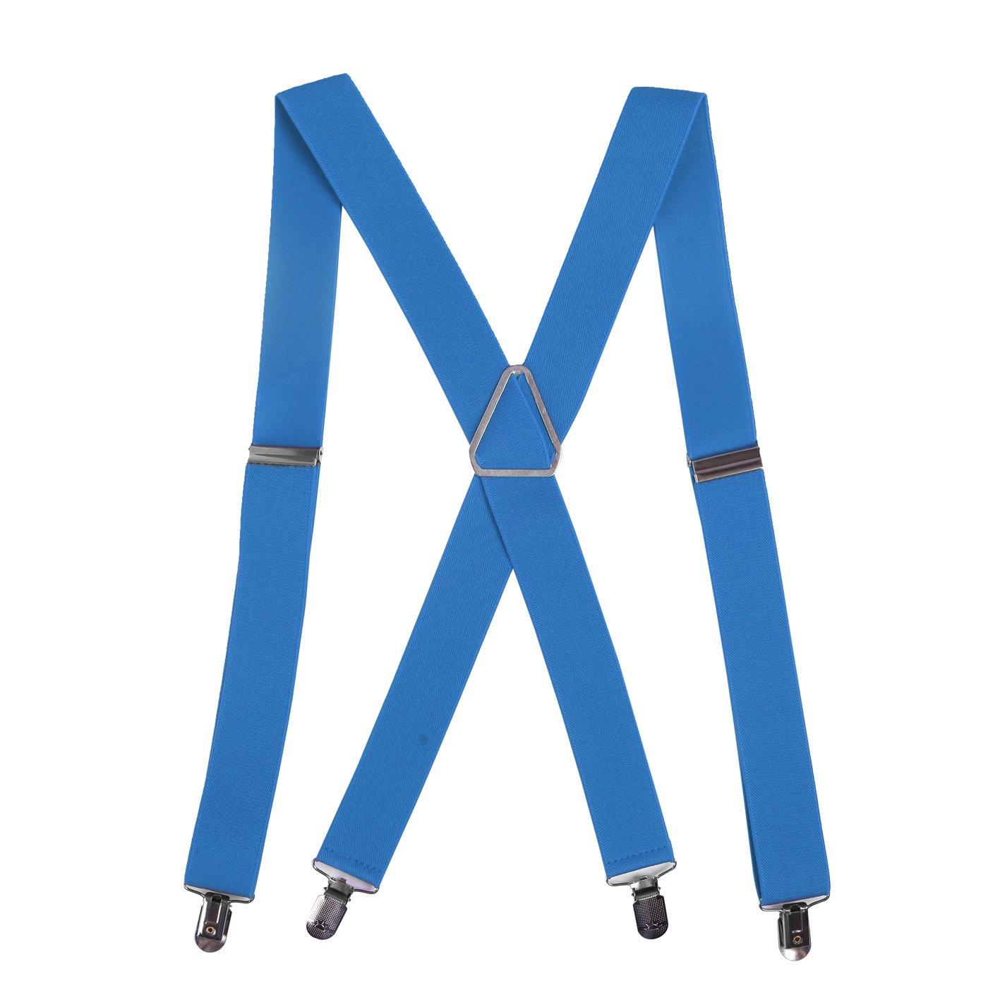 HDE Men's Big and Tall X-Back Clip Braces 4 cm Wide Adjustable 139 cm Long (Black)