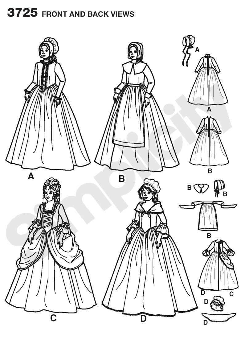 Sizes 7-14 Simplicity Historical Dresses Sewing Pattern Costumes for Girls by Andrea Schewe