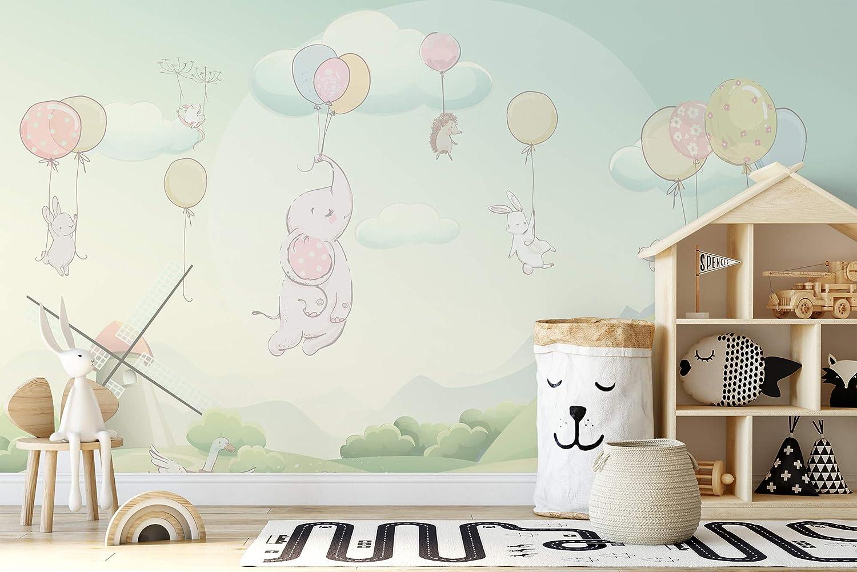 Amazon.com: Murwall Kids Wallpaper Little Elephant Wall Mural Nursery Animal Wall Art Cartoon Windmill Childroom Wall Decor Baby Room Playroom: Handmade