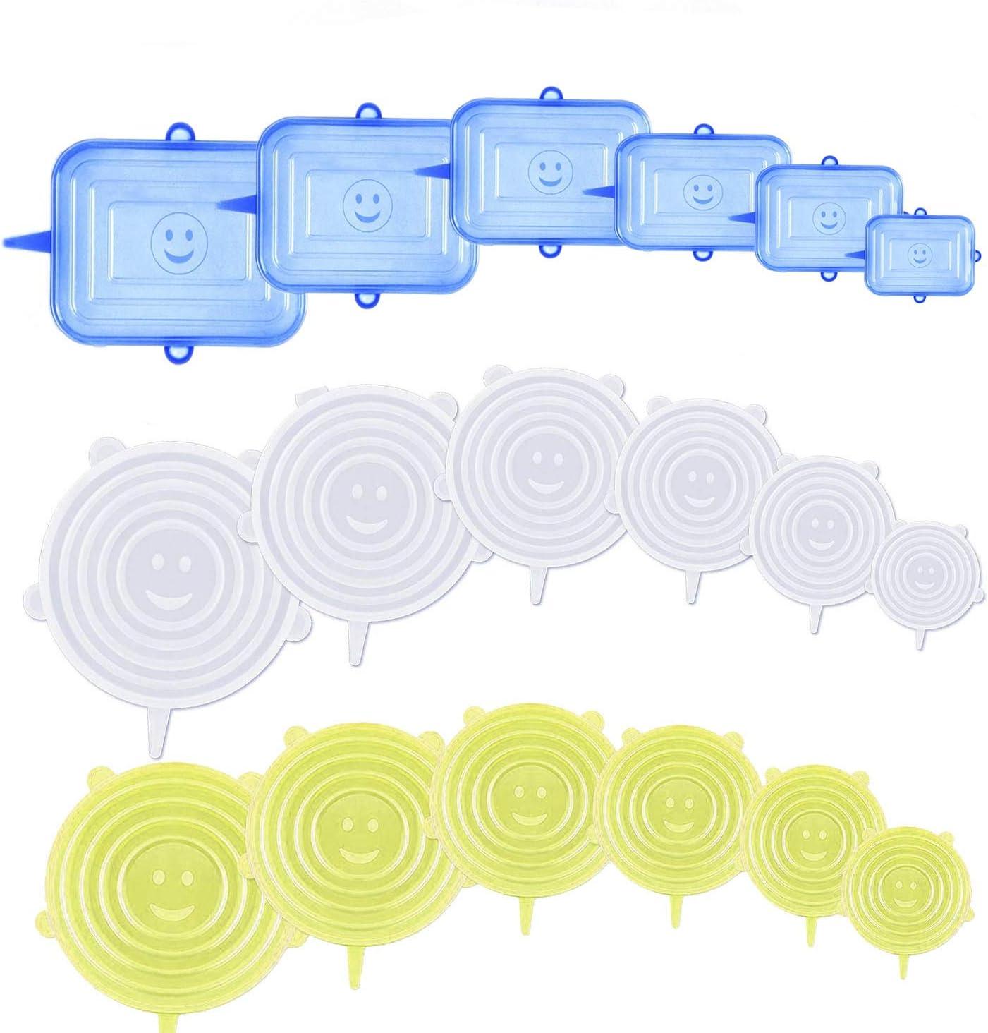Gl/äSer.(Transparent und blau,12) Universal Silikon-Frischhalte-Deckel f/ür Sch/üSseln T/öPfe BPA Free Wiederverwendbar Silikon Abdeckung LIULIUKEJI Dehnbare Silikondeckel