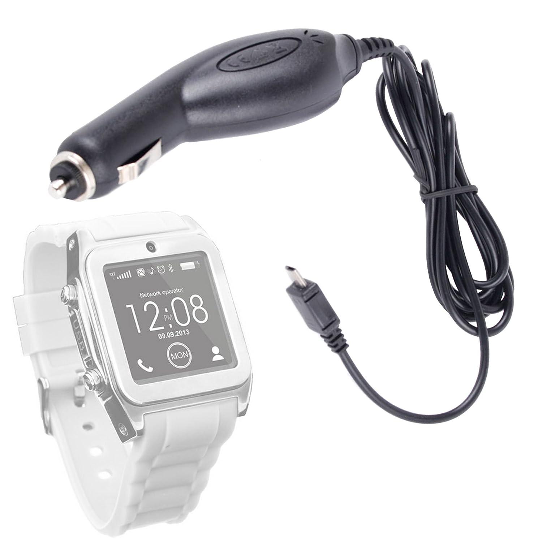 Duragadget Chargeur de voiture allume-cigare pour montre connectée Carrefour SimWatch SSW01 & SSW02 (écran 1,54