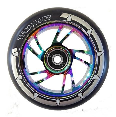 1 x roue de trottinette Team Dogz, 110 mm, Noir, Cœur en alliage et PU, roue de remplacement compatible avec trottinettes MGP, Blunt, Grit, Slamm ...