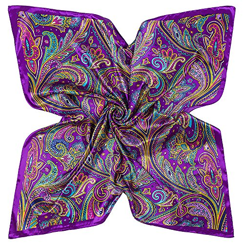 YOUR SMILE Polyester Scarf Women's Fashion Pattern Large Square Satin Headscarf Headdress 35''x35'' (Style 506) (Silk Paisley Satin)