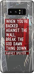 Samsung Note 8 case Suits Case Harvey Specter Quote Backed Against The Wall Tv Show Reinforced Clear Tough Plastic Tv Show Wrap Around Phone Cover