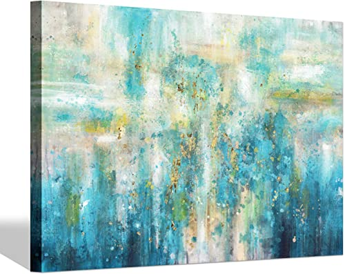 Modern Abstract Painting Canvas Art Artist Blue Color Picture Artwork for Living Room Wall Art 36 x 24 x 1 Panel