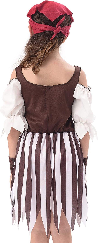 IKALI Disfraz Pirata Niños, Niña Rustic Maiden Bucanero Vestido ...