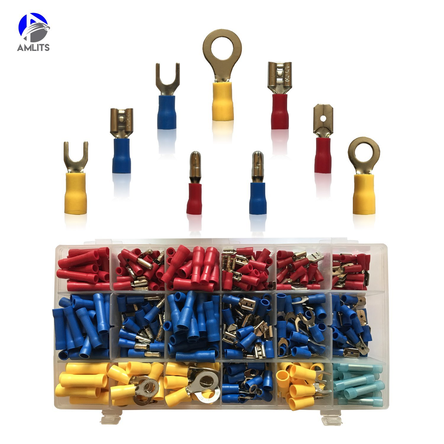 260 PCS Insulated Wire Connector Assortment Electrical - Butt, Ring, Lug, Fork, Spade - Crimp Marine Automotive Cable Terminal