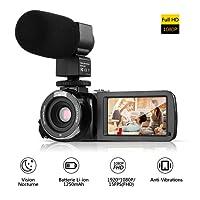 """Videocamera,LESHP Portatile DV Videocamera Full HD(1080P 24MP 16x Zoom Visione Notturna a Raggi Infrarossi 3,0""""Schermo LCD 270 °) Mini DV Videocamera Digitale con Microfono Esterno e Telecomando,Nero"""