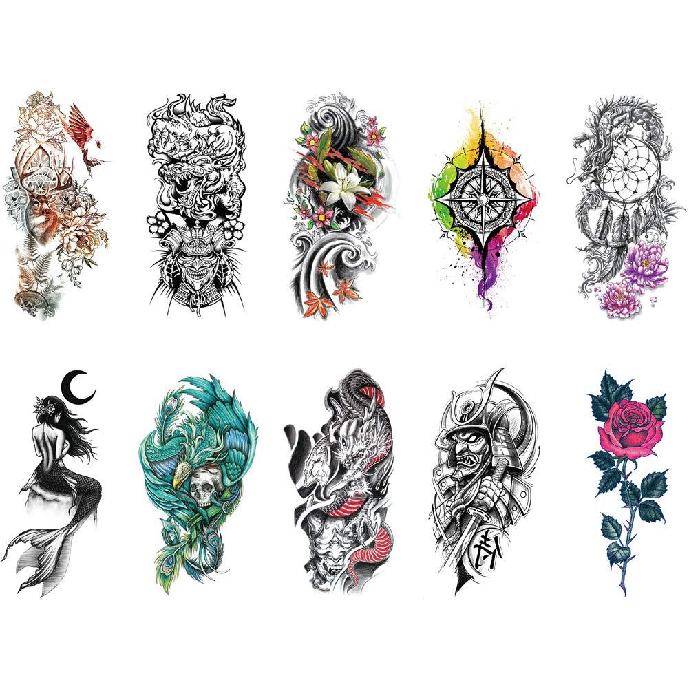 Temporary Tattoo Sticker Flower Rose Dream Catcher Skeleton Mermaid Fake Tattoo Arm for Women Men 10 Sheets