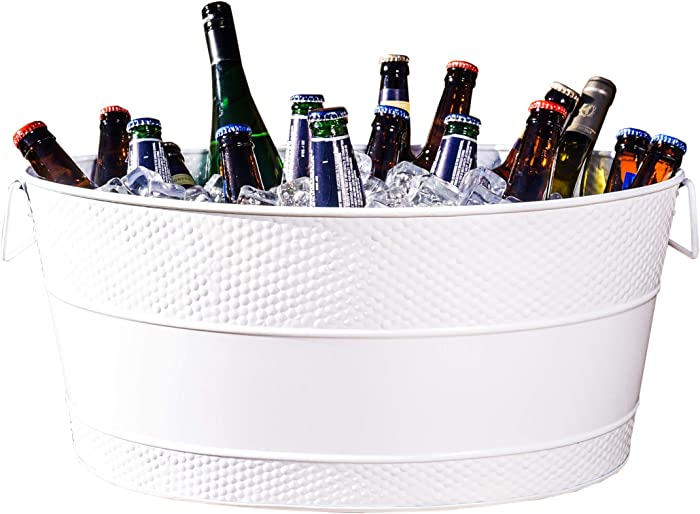 BREKX Aspen Galvanized White Metal Ice and Drink Bucket, Beverage Tub for Parties, 25-Quart