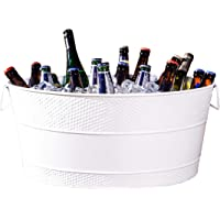 BREKX Aspen Galvanized White Metal Ice and Drink Bucket, Beverage Tub for Parties, 25-Quart