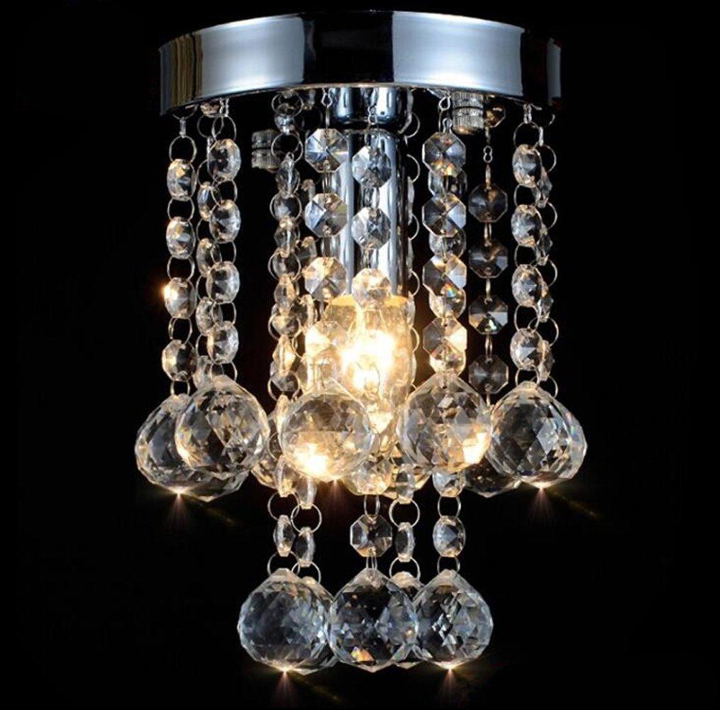 Modern Small Crystal Chandeliers Chrome Ceiling Light Crystal Flush Mount Light for Hallway Bedroom Living Room Barthroom Silver Dixun