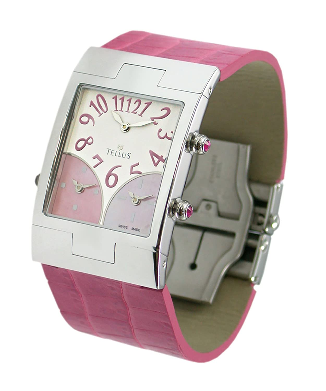 Tellus - Trois quartiers - Damen Armbanduhr Silber aus Edelstahl - Armband fuchsia aus Kalbsleder - in Schweiz hergestellt -