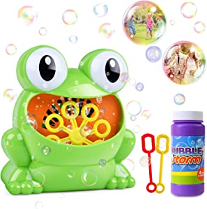 HOMOFY Bubble Machine Toys Automatic Bubble Blower with Bottle Durable Solution & 2 Bubble Wands,800+ Bubbles per Minute Gifts Toys for 2 3 4 5 Year Old Boys/Girls/Kids,Outdoors&Party&Wedding