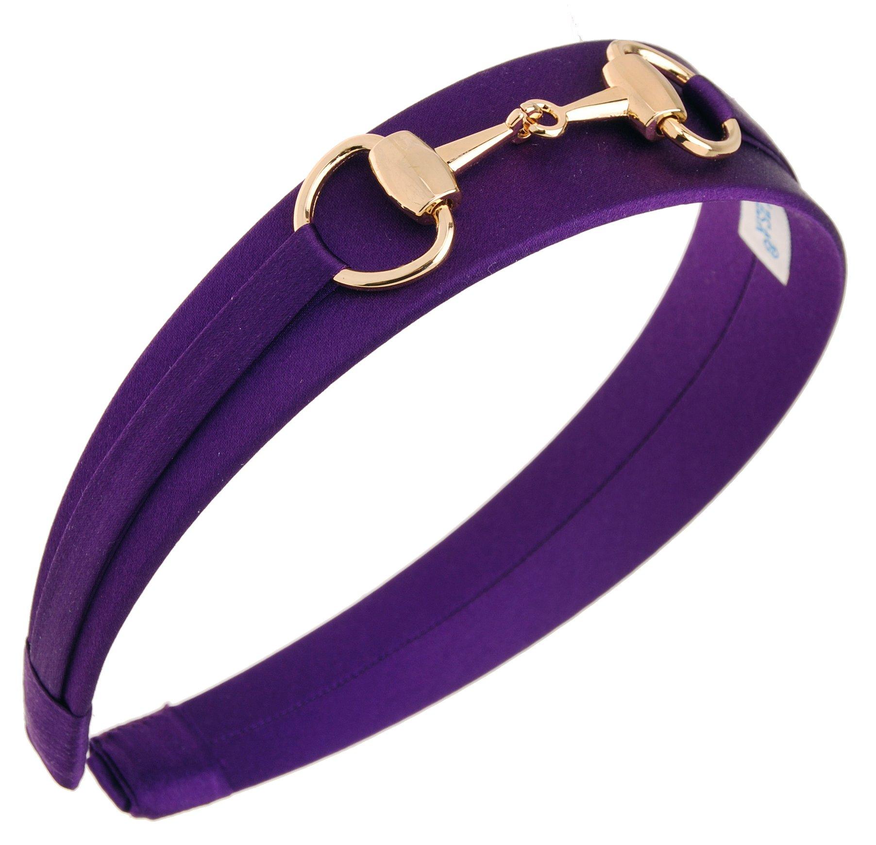 L. Erickson USA Bit Headband - Silk Charmeuse Purple Mink