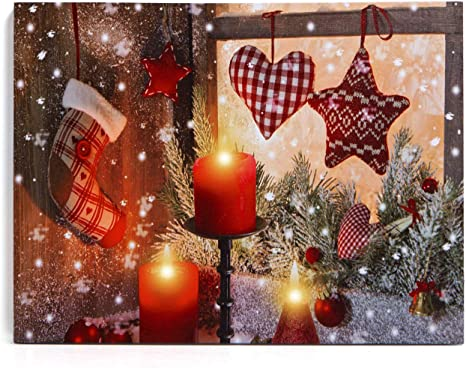 Amazon Com Nikky Home 16 X 12 Decorative Led Lighted Canvas Prints Picture Of Christmas Stockings Winter Wall Art Holiday Decor Posters Prints