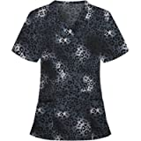 Hotkey Short Sleeve Tops for Women, V-Neck Pocket Care Workers T-Shirt Leopard Camouflage Print Working Uniform Blouse