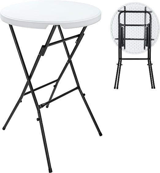 DEUBA® Mesa alta plegable | Altura: 110cm | Diámetro: 80cm: Amazon ...