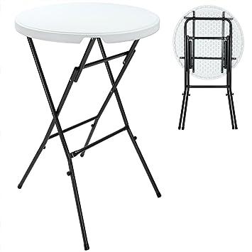 Table de jardin pliante Ø 80 cm blanc - Table bistrot - Table ronde  d\'appoint - Hauteur 110 cm