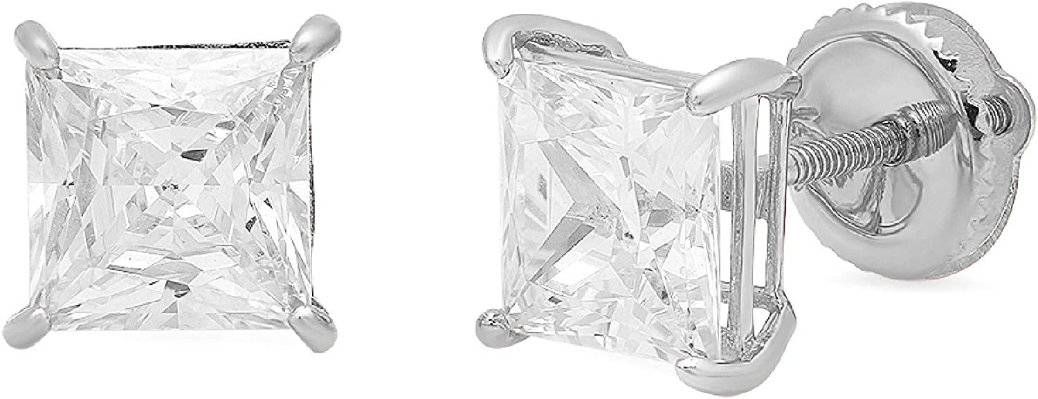 4.0 ctw Princess Brilliant Cut Simulated Diamond CZ Solitaire Stud Earrings in 14k White Gold Screw Back