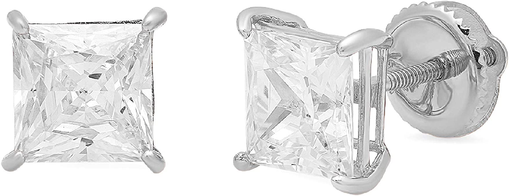 3 ct Brilliant Princess Cut Solitaire Studs Designer Genuine Flawless Clear Simulated Diamond 14K 18K Yellow Gold Earrings Screw back