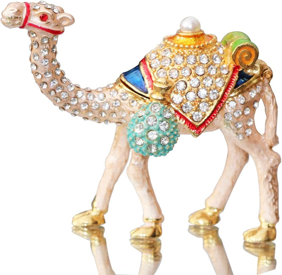 Waltz&F Camel Figurine Trinket Boxes Ornament Crystals Hand-painted Patterns Jewelry Trinket Box Hinged Collectible Ring Display Holders
