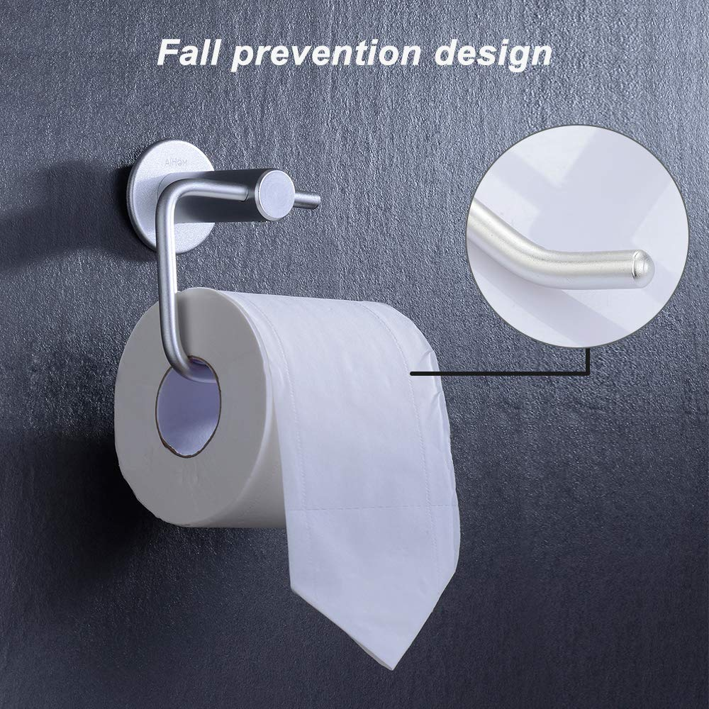 AiHom Portarotolo per Carta Igienica Adesivo Senza Foratura,Autoadesivo,Porta Rotolo Carta,Ideale per bagno//Cucina//Toilette,Alluminio