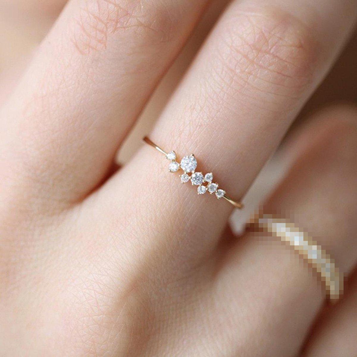 Diamond Flower Ring,Sunward Crystal Diamond Engagement Wedding Ring for Women Girl Size 6-10 (Gold, 10)