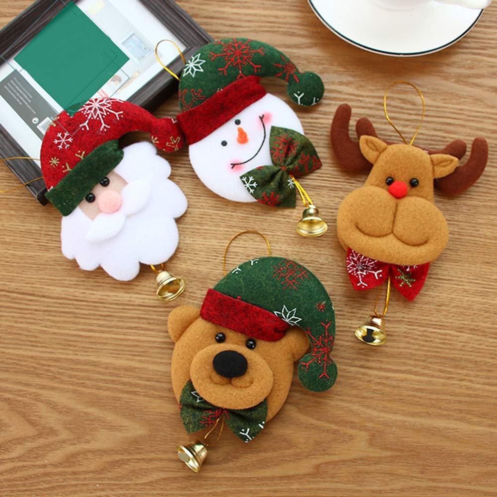 CFPACR Albero di Natale Santa Pupazzo di Neve Alce Orso Ornamento Appeso Ciondolo Decorazione Campana-1#