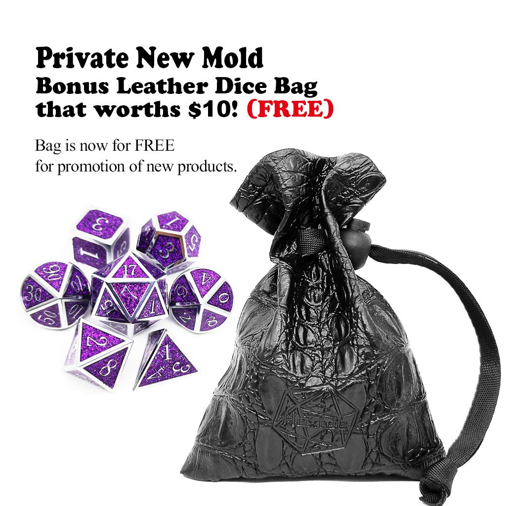 Amethyst Silver Purple Glitter Haxtec Metal Dice Set D/&D Sparkling 7PCS DND Dice of D20 D12 D10 D8 D6 D4 for Dungeons and Dragons RPG Games-Glitter Dice