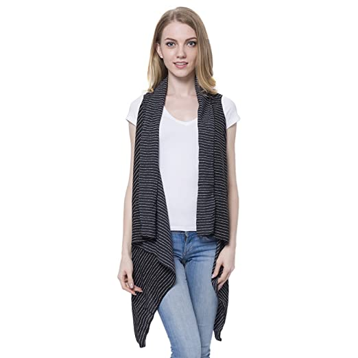 726be5f091c64 Shop LC Delivering Joy Black and White Striped 100% Polyester Vest for Women