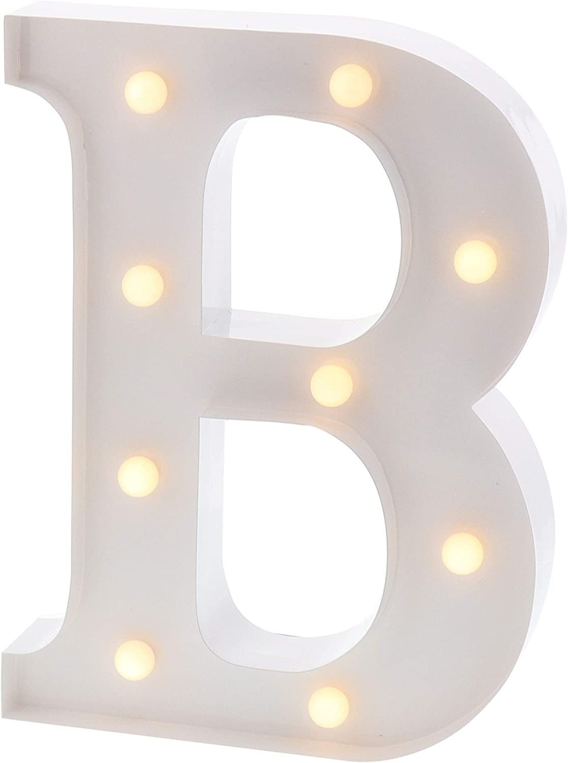 """Barnyard Designs Metal Marquee Letter B Light Up Wall Initial Wedding, Bar, Home and Nursery Letter Decoration 12"""" (White)"""