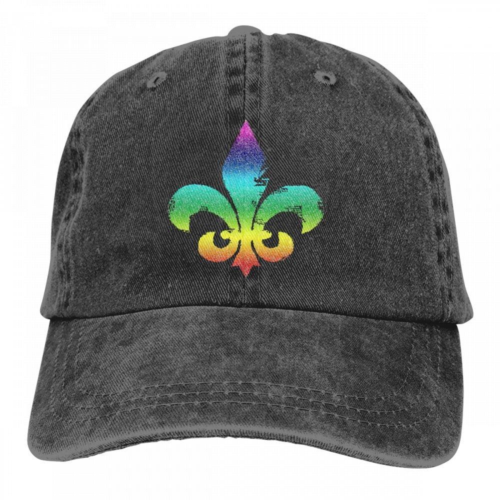 Goldsmith Sally Glitter Fleur De Lis Colorful For Men And Women Adjustable Baseball Cap Trucker Dad Hats