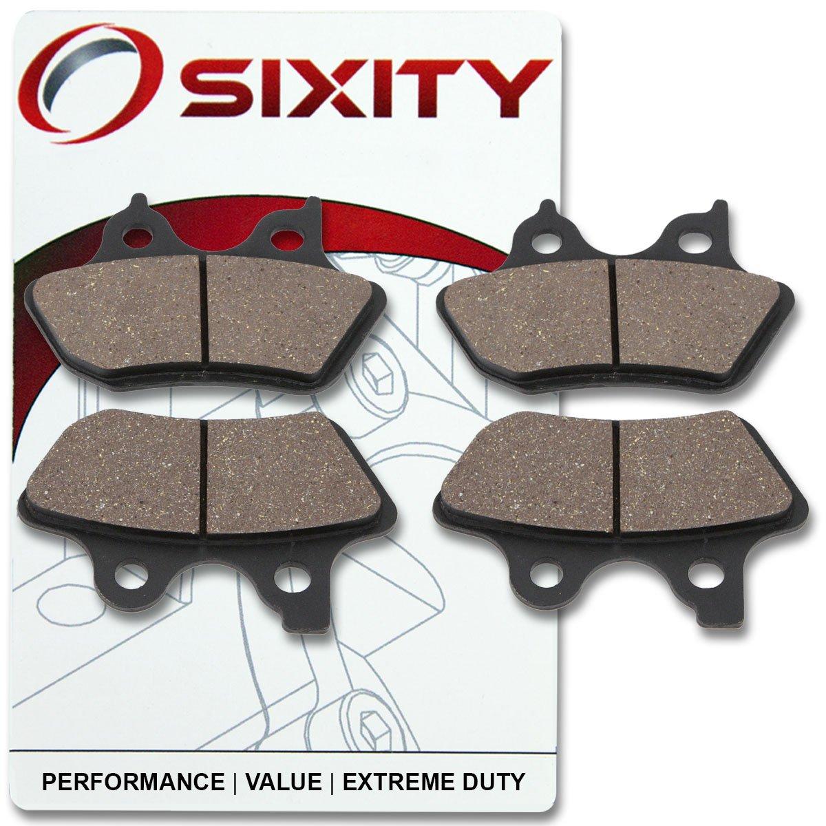 3. Sixity Front + Rear Ceramic Brake Pads 2000-2003 Harley Davidson XL883C Sportster 883 Custom Set Full Kit Complete