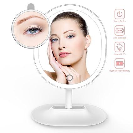 Espejo de Maquillaje, THZY Ultra Brillante USB Charge Espejo Cosmético de Mesa con Luz LED