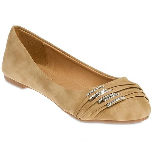 e044c2978fe0e Caspar SBA004 Manoletinas para Mujer Bailarinas con Hebillas de Estrás   Amazon.es  Zapatos y complementos