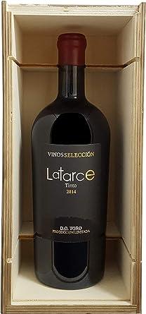 Botella Vino Tinto Latarce | Caja Madera 1 Botella Vino Selección 2014 | Vino Tinto D.O Toro | Vino Latarce | Vino Toro | Vino Delicatessen | Productos Gourmet | Ideal para regalo: Amazon.es: Alimentación y bebidas