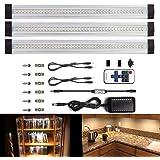 LEBRIGHT Lampe de cabinet LED, Dimmable Lampe de Placard LED 3pcs 3000K,1100LM,Lampe d'armoire 12V DC, Barre Lumineuse LED tous les Accessoires Inclus(blanc chaud 3000K)