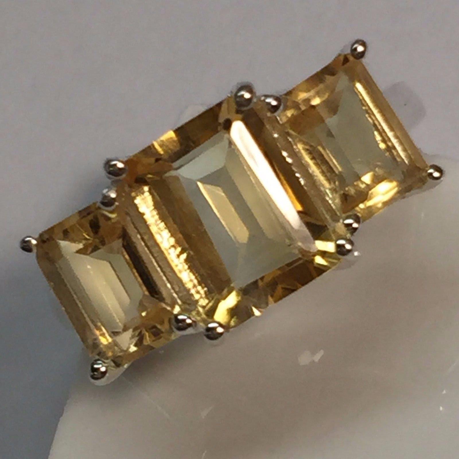 Estate Natural 8ct Golden Citrine 925 Solid Sterling Silver Emerald Cut Ring 6, 7 , 8