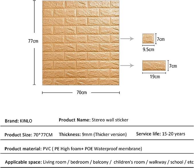 3D Ziegel Tapete - Wandpaneele Selbstklebend Steinoptik Tapete 77 x 70 x 1  cm Wasserfest Ziegelstein Wandtattoo PVC verdicht DIY Schaum Panel weiche  ...
