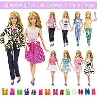 20 Items 10 Pcs Fashion Handmade Doll Clothes Set, Colorful, Size No Size